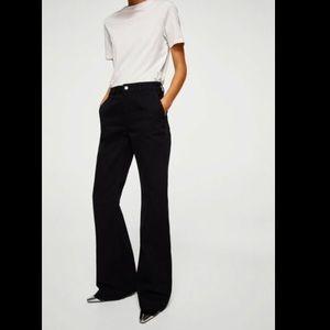 Mango High Waisted Black Flare Denim Jeans